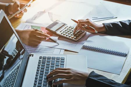 Foto de teamwork  business woman accounting concept financial in office - Imagen libre de derechos