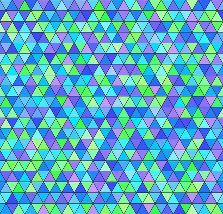 Illustration pour Triangle pattern. Vector seamless background - green, cyan, blue, violet triangles on black backdrop - image libre de droit