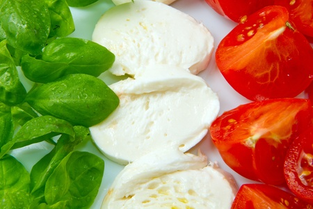 Italian flag made wit Tomato Mozzarella and Basil