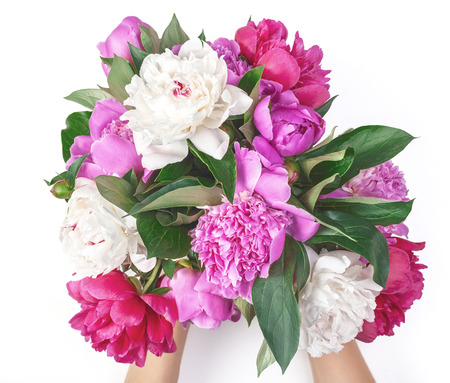 Photo pour Bouquet of pink and white peony flowers in woman's hand isolated on white background. Top view. Flat lay. - image libre de droit