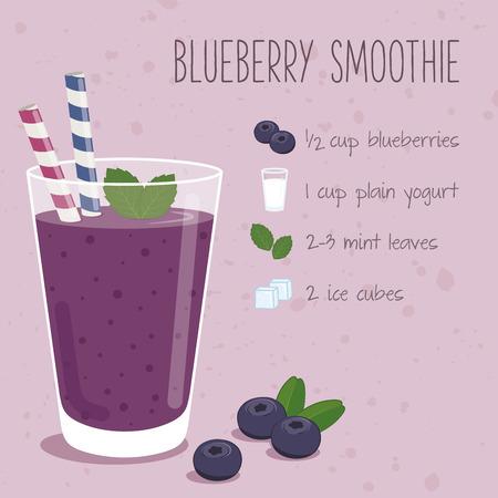Illustration for Blueberry smoothie recipe - Royalty Free Image