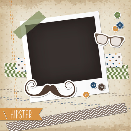 Illustration pour Hipster scrap card with photoframe, mustache and glasses - image libre de droit