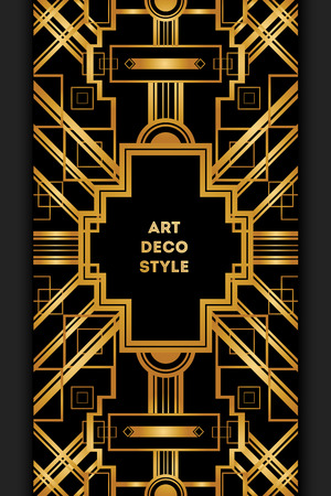 Ilustración de Art Deco vintage decorative frame. Retro card design vector template - Imagen libre de derechos