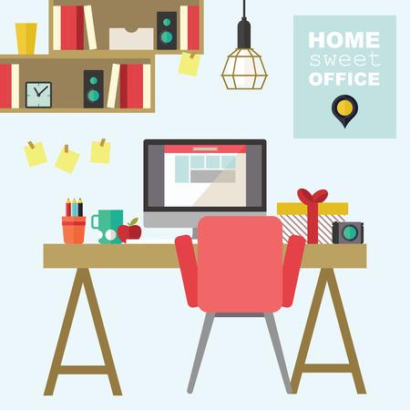 Ilustración de Home office flat interior design illustration - Imagen libre de derechos