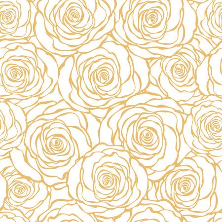 Illustration pour Art Deco floral seamless pattern with roses - image libre de droit