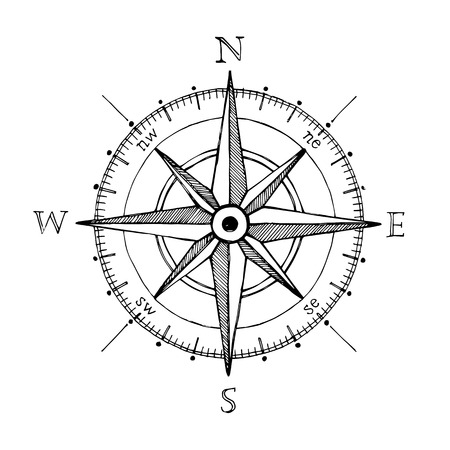 Illustration pour Compass wind rose hand drawn design element - image libre de droit