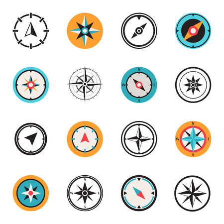 Illustration pour Wind rose compass flat symbols set - image libre de droit