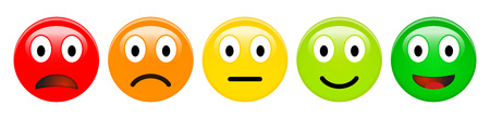Illustrazione per Feedback rating scale of red, orange, yellow and green emoticons, 3d Smiley icons in different colours. - Immagini Royalty Free