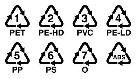 Ilustración de Plastics recycling symbol, recycle triangle with number and resin identification code sign. - Imagen libre de derechos
