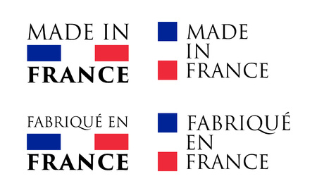 Illustrazione per Simple Made in France (and French translation) label. Text with national colors arranged horizontal and vertical. - Immagini Royalty Free