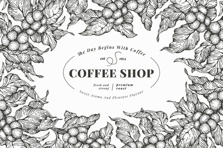 Illustration for Coffee tree banner template. Vector illustration. Vintage coffee frame. Hand drawn engraved style illustration. - Royalty Free Image