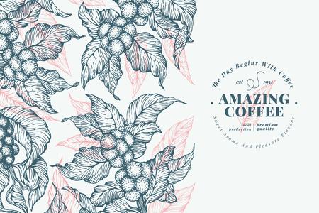 Ilustración de Coffee tree banner template. Vector illustration. Retro coffee background. Hand drawn engraved style illustration. - Imagen libre de derechos