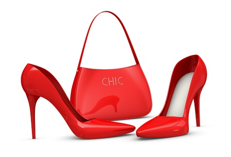 one pair of high heels shoes and a bag (3d render)