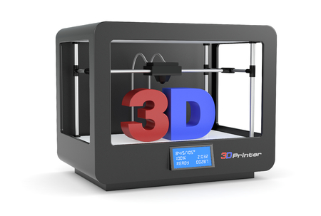 Photo pour closeup of a black 3d printer (render) - image libre de droit
