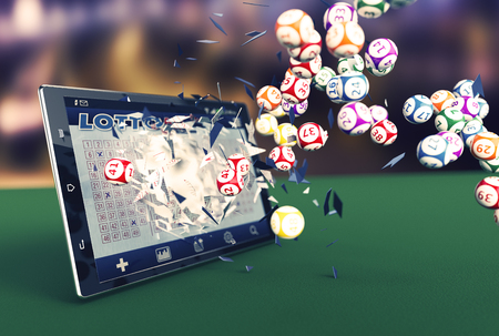 Foto de tablet pc with a lottery app and lottery balls coming out by breaking the glass (3d render) - Imagen libre de derechos