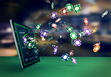Foto de tablet pc with a poker app and poker chips coming out by breaking the glass, concept of online gaming (3d render) - Imagen libre de derechos
