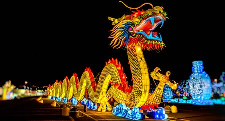 Photo for A chinese dragon lantern festival panoramic night . - Royalty Free Image