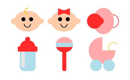 Ilustración de A set of six icons about babies - Imagen libre de derechos