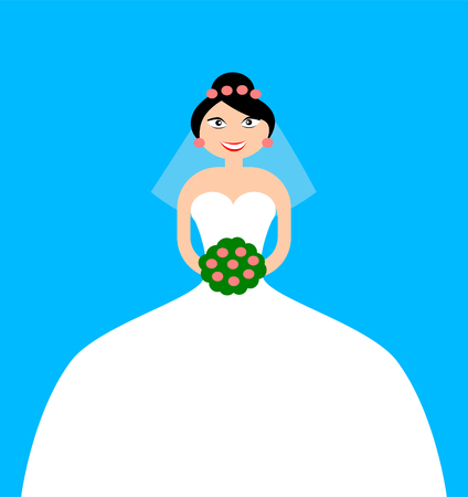 Ilustración de A woman dressed as a bride for her wedding - Imagen libre de derechos