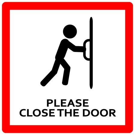 Illustration for Close the door sign. Keep this door closed sign - Royalty Free Image