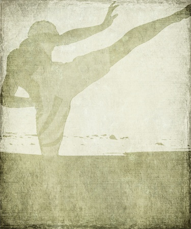 Martial Arts Silhouette on Chalky Grey Grunge Background with Frame