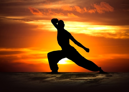 Image of a Martial Arts Fitness at Sunset