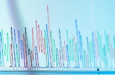 Foto de dna chromatogram monitor computing system in the genetic laboratory - Imagen libre de derechos