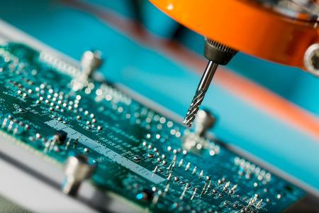 Foto de PCB Processing on CNC machine - Imagen libre de derechos