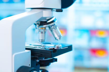 Foto de Laboratory Microscope. Scientific and healthcare research background. - Imagen libre de derechos