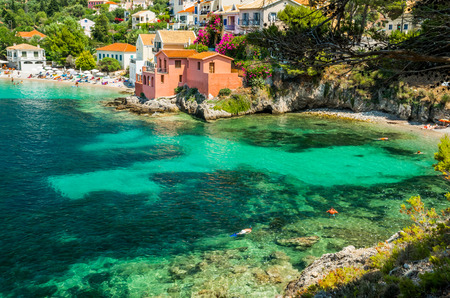 Photo for Assos on the Island of Kefalonia in Greece. View of beautiful bay of Assos village, Kefalonia island, Greece - Royalty Free Image