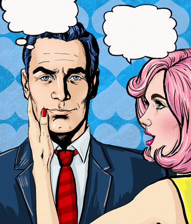 Foto de Pop Art couple conversation.Love couple. Pop Art love. Valentines day postcard. - Imagen libre de derechos