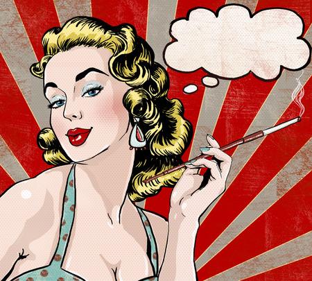 Photo pour Pop Art illustration of woman with the speech bubble and cigarette.Pop Art girl. - image libre de droit