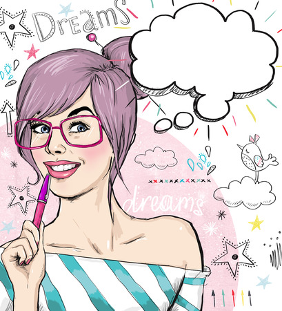 Foto de Fashion sketch illustration girl with pen in the hand with speech bubble. Student girl. Youth. Young student at the lesson. Young girl with thought bubble. Youth style poster. Clever and curious girl. - Imagen libre de derechos