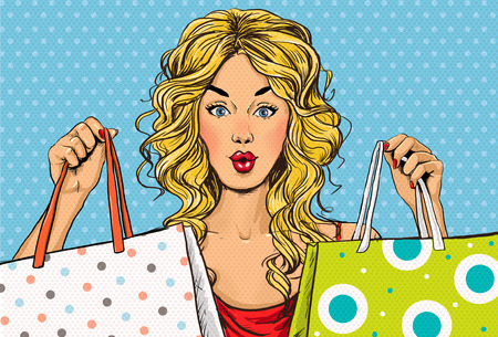 Foto de Pop Art blond women with shopping bags in the hands.Shopping Time.Sale and discount time. Black Friday.Fashion days.Pop Art girl. - Imagen libre de derechos