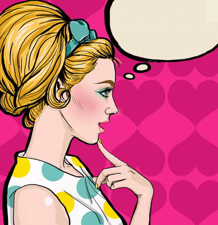 Foto de Pop Art illustration of blond girl in profile with the speech bubble.Pop Art girl. Party invitation. Birthday greeting card.Vintage advertising poster. Comic woman with speech bubble. Sexy disco girl. - Imagen libre de derechos