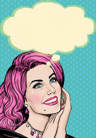 Foto de Pop Art illustration of pink head girl on Pop art  background.Pop Art girl. Party invitation. Birthday greeting card. Advertising poster. Comic woman. Romantic girl. Thinking girl. Fantasy thoughts. - Imagen libre de derechos