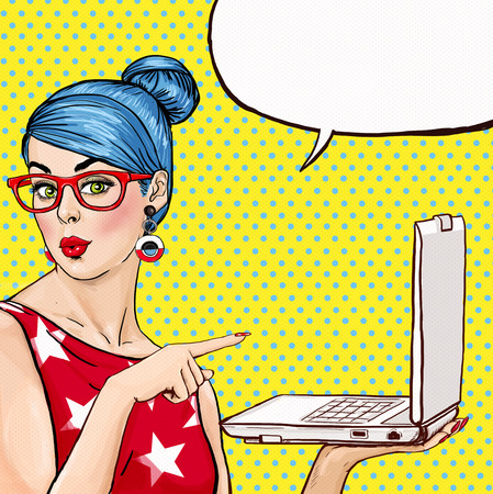 Foto de Girl with laptop in the hand in comic style. Woman with notebook . Girl showing the laptop. Girl in glasses. Hipster girl. Sexy blue hair girl with laptop. - Imagen libre de derechos