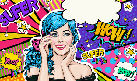 Foto de Pop Art illustration of blue head girl on Pop art  background.Pop Art girl. Party invitation. Birthday greeting card. Advertising poster. Comic woman. Romantic girl hiding her face. - Imagen libre de derechos