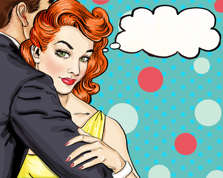 Foto de Love couple. Pop Art Couple.Pop Art love. Valentines day postcard. Hollywood movie scene. Love Pop Art illustration Pop Art love.  Real love. Movie poster. Comic book love. Mistress , cuddles, adorer - Imagen libre de derechos