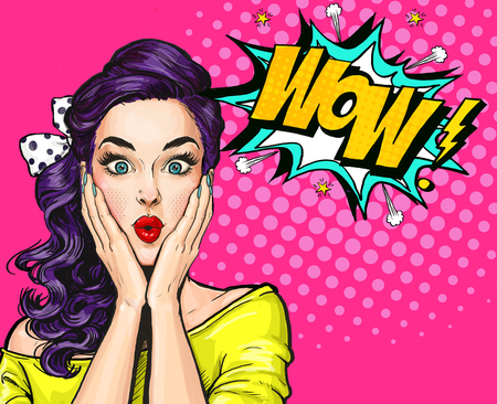 Foto de Pop Art illustration, surprised girl.Comic woman. Wow.Advertising poster. Pop Art girl. Party invitation. - Imagen libre de derechos