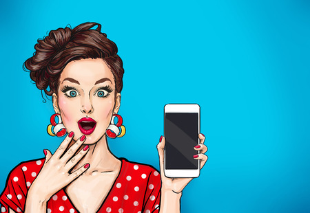 Foto de Girl with phone in the hand in comic style. Woman with smartphone. Hipster girl. Digital advertisement.Woman with phone. - Imagen libre de derechos