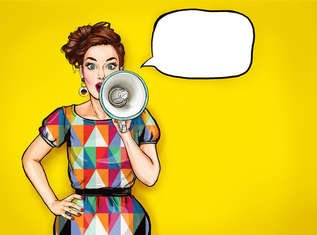 Photo for Pop art girl with megaphone. Woman with loudspeaker. Girl announcing discount. Shopping time. Protest, feminism, woman rights, woman protest, girl power. Special offer, brunette, pop, fashion, sexy - Royalty Free Image