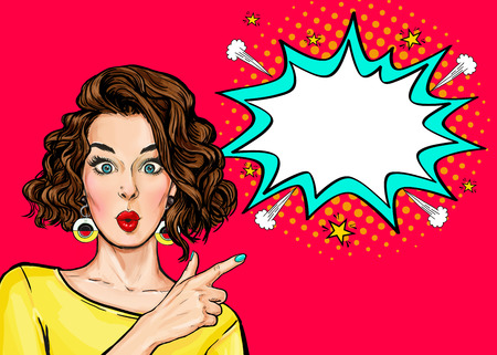 Foto de Pop Art Woman surprise showing product .Beautiful girl with curly hair pointing to on bubble. Presenting your product. Expressive facial expressions - Imagen libre de derechos
