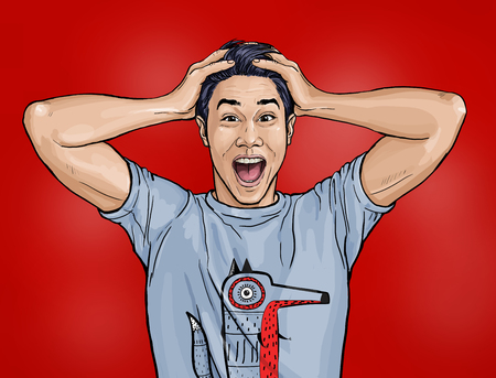 Foto de Portrait of amazed asian man says Shocked guy with surprised expression. Emotions concept.Happy men.Technology design - Imagen libre de derechos