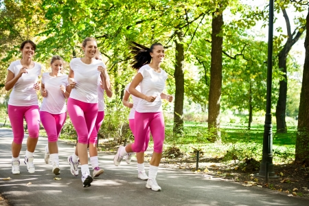 Runners  Jogging group in park