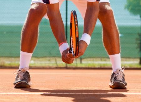 Photo pour  tennis player  waiting tennis ball - image libre de droit