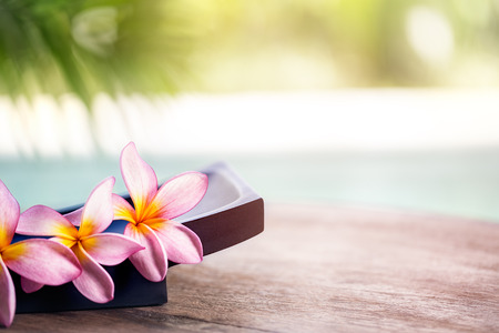 Photo for Frangipani tropical spa flower, spa and wellness background - Royalty Free Image