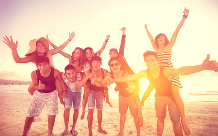 Photo for happy people on beach, summer, holidays, vacation, - Royalty Free Image