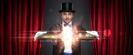 Photo for magician showing trick on stage, magic, performance, circus, show concept - Royalty Free Image