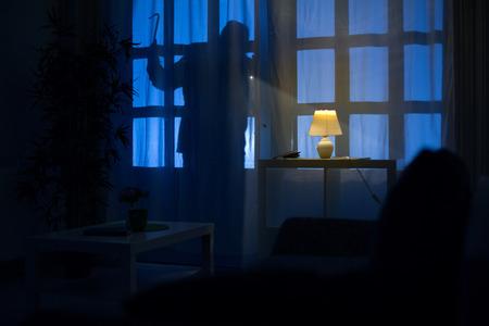 Photo pour shadow  of burglar on the balcony door - image libre de droit